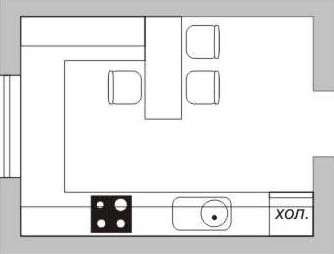 Схема кухни с барной стойкой