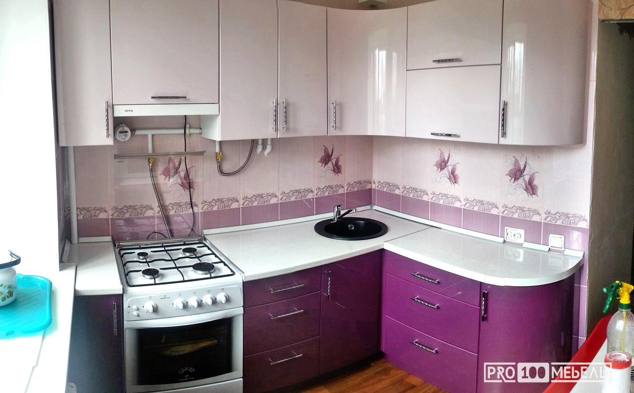 маленькая кухня сиреневый цвет шахты