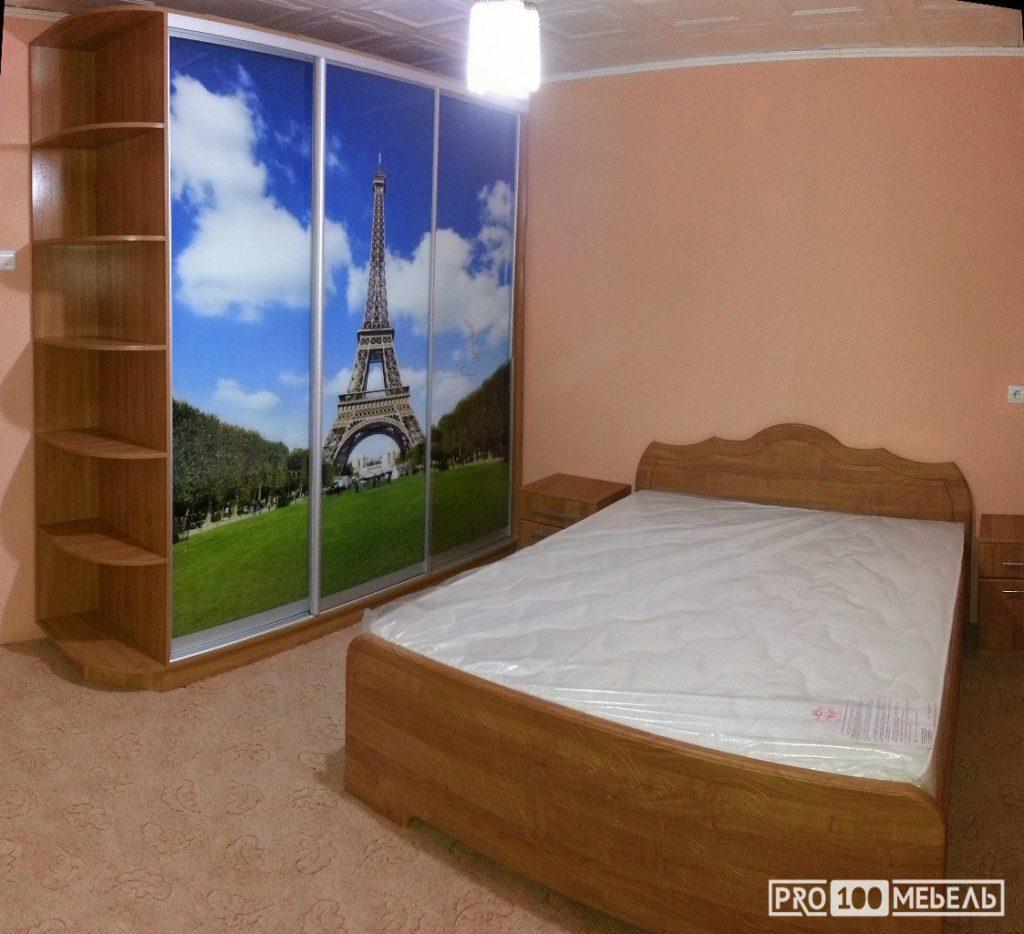 Спальня шкаф фотопечать париж на заказ
