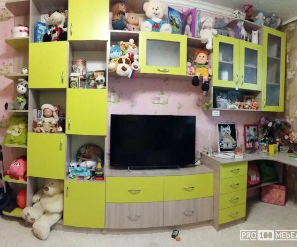 детская корпусная мебель желтая шахты
