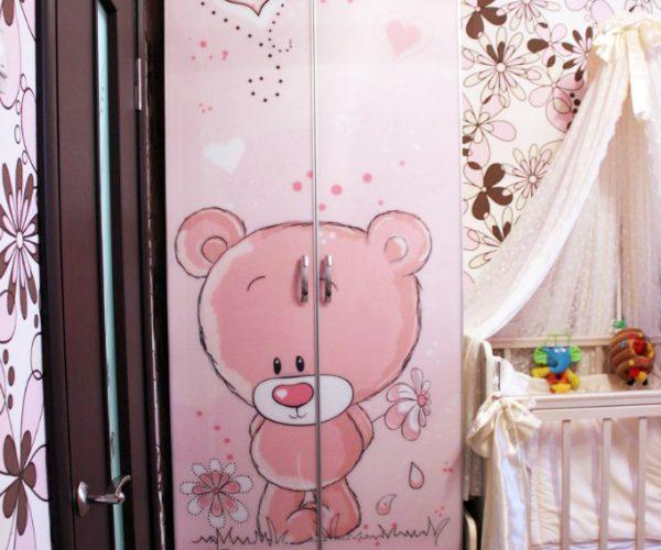 Шкаф детская розовый мишка тедди